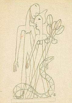 Adam & Eve II Adolf Odorfer Graphite on paper 22x 15.5 cm.