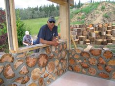 cord wood houses | ... construction of a cordwood shed at the Georgeson Botanical Garden