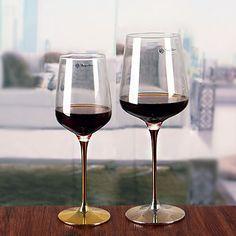 Metal stem red wine cup gold stem wine glasses large goblet wine stemware wholesale