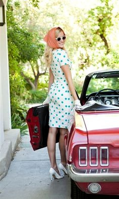 This lighthearted polka-dot dress has all the spunk of a joyride in an old-school red convertible. Featuring an ivory ground energized by scads of bold teal polka dots, this dress may tempt you to throw on a headscarf, shades, and driving gloves for a cruise downtown. Fully- lined. Machine-wash cold, delicate cycle.