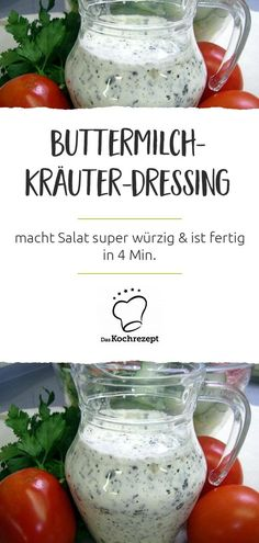 Mit dem Buttermilch-Kräuter-Dressing schmeckt Salat am allerbesten! Denn mit de… Salad tastes best with buttermilk and herb dressing! Because with the sauce he is so super spicy. Another plus: the dressing is ready in four minutes. Salad Recipes Healthy Lunch, Fresh Salad Recipes, Salad Recipes For Dinner, Chicken Salad Recipes, Detox Recipes, Fruit Recipes, Easy Healthy Recipes, Healthy Lunches, Vinaigrette