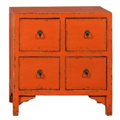 Four Drawer Cabinet Orange  by Antique Revival