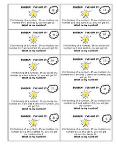 Here's a set of challenging number puzzles that require students to think about setting up and solving equations.