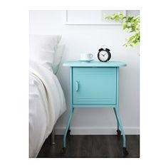 IKEA - VETTRE, Nightstand, , Inside there is room for an outlet strip for your chargers.You can run the cord to an outlet through the hole in the bottom.Easy to move since the bedside table has casters.The door can be hung to open either right or  left.