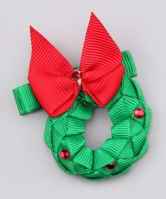 Take a look at this Red & Green Wreath Bow Clip by Santa's Toy Delivery: Last-Minute Gifts on #zulily today!