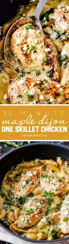30 Minute Maple Dijon Chicken Skillet with Fingerling Potatoes and Spinach…