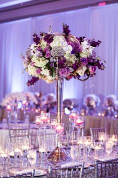 Lavish Purple Indian Wedding Reception with Tall Centerpieces, Chiavari Chairs and Sequined Linens | Ritz Carlton Sarasota Beach Club on Lido Key
