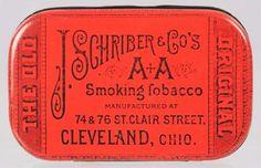 J.S. Schriber Cleveland Flat Pocket Tobacco Tin.