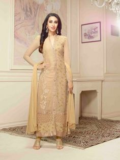 Beige Georgette Suit with Embroidery Work