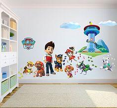 Paw Patrol Sticker mural 3D Chambre Garçon Fille?Taille enfants: Peler et coller facile à poser et retirer, non réutilisable Couleur…