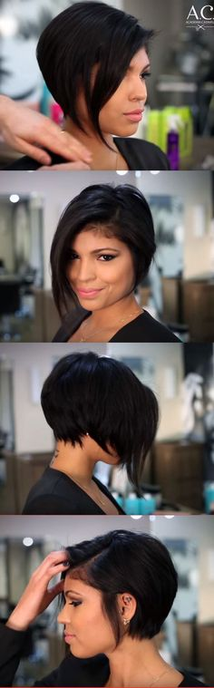 Ultra stylish asymmetrical pixie bob. I LOOOOVE it!!