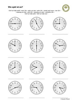 Read clock - language- Uhr lesen – Sprache What time is it? German Language Learning, Learning Spanish, Teaching Materials, Teaching Resources, Math Addition Worksheets, Clock Worksheets, Apps For Teachers, Clock For Kids, Learn German