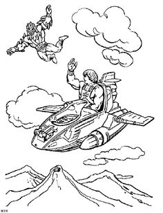He-Man on Wind Raider with Stratos coloring page
