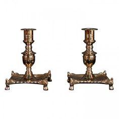 Marvin Alexander,Inc. Baroque style turned brass candlesticks, Danish circa 1900