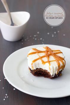 Salted Caramel, Chocolate, & Vanilla Bean Ice Cream Cakes  - 4 layers of indulgence make up this epic dessert: chocolate cupcake, salted caramel chocolate ganache, vanilla bean ice cream, and salted caramel drizzle. | www.brighteyedbaker.com