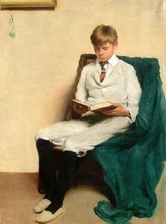 Portrait Of A Boy Reading by Edmund C. Tarbell. Edmund Charles Tarbell (April 26, 1862–Aug 1, 1938), American Impressionist painter. A member of the Ten American Painters, his work hangs in the Boston Museum of Fine Arts, Metropolitan Museum of Art, National Gallery of Art, Smithsonian American Art Museum, and many other collections. His 1891 plein air painting entitled In the Orchard established his reputation as an artist. It depicts his wife with her siblings at leisure.