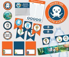 Octonauts Birthday Party, Octonauts Party Collection, Boys Birthday Printables, Octonaut Cupcake Toppers, Digital Download