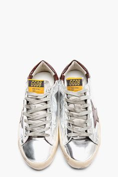 4f22a2dd602 GOLDEN GOOSE Metallic Silver Leather   Bronze Glitter Superstar Sneakers Men  Online