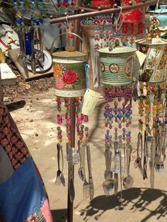 Wind chimes made from old tin pails and silverware. by Betty Jones Tin Can Crafts, Fun Crafts, Arts And Crafts, Tin Pails, Tin Can Art, Diy Wind Chimes, Deco Boheme, Antique Market, Mobiles