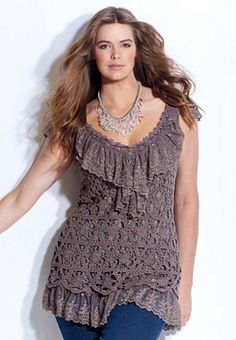crochet tunics | PLUS Trend Of The Day…Crochet Lace Overlay Tunic by Denim 24/7 From ...