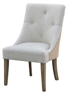 Lillian Tufted Chair Oatmeal Linen/Burlap 32501-OLB