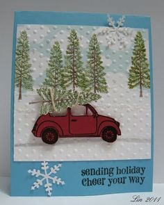 great idea to stamp the trees and then run it throught the embossing machine. Makes it look like snow coming down.