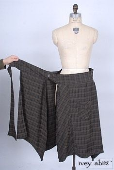 Vine 60s Wool Skirt 1960s Mod Midi Wrap Red Flannel