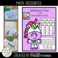 Math Centers - Unicorn Flip and Find - Numbers 1 - 120 | TpT Kindergarten Lesson Plans, Preschool Kindergarten, Hands On Activities, Math Activities, School Lessons, Elementary Education, Fun Math, Math Resources, Math Centers