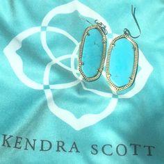 Kendra Scott Elle Earrings Turquoise Elle earrings purchased from Kendra Scott website. The gold is coming off a tiny, tiny bit from wear on edge of earring, but not noticeable when wearing. Dust bag included. Kendra Scott Jewelry Earrings