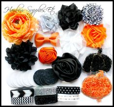 Jack O Lantern Halloween Haarband Kit  macht von HairbowSuppliesEtc