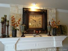 Fireplace Decor with low ceilings.