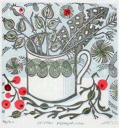 WInter Persephone - wood engraving by Angie Lewin - printmaker Linocut Prints, Art Prints, Block Prints, Angie Lewin, Watercolor Projects, Art For Art Sake, Christmas Books, Wood Engraving, Screen Printing