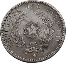 1870 PARAGUAY South American Country 2 Centesimos Antique Coin Star Rays i55252