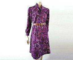 VIOLETTE French Vintage Purple Paisley Secretary Dress by bOmode, $69.00
