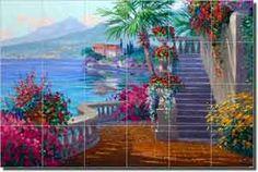 Romance of Lake Como by Mikki Senkarik - Mediterranean tile mural backsplash by ArtworkOnTile.com