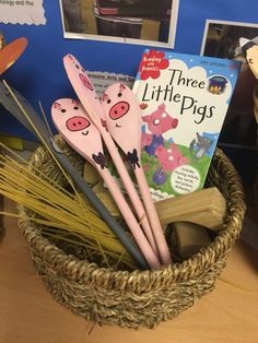 3 little pigs story spoons. Also included hay for the hay house, spaghetti as sticks and wooden blocks for the brick house. More durable than puppets and the children love to act out the story.