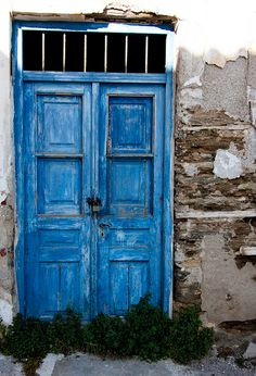 Shades of Blue. Kyklades, Greece. By Enkay Tee blue door 000