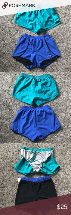 Running shorts bundle. Nike and Asics. Two pairs of running shorts, both lined, like new in great condition, both lined. The Asics (blue ones) have built in spandex. Nikes are real and have a cool geometric pattern. Nikes size S. Asics size XS, but will fit a small. Accepting reasonable offers! Nike Shorts