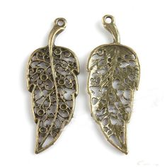 Fashion Antique Bronze HoSwallow Out Leaf Shaped Charms Pendants