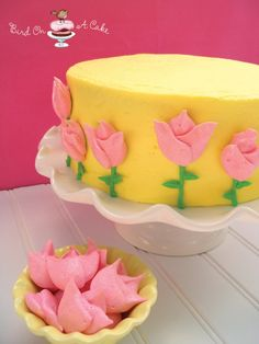 Meringue Tulips Cake for Mother's Day {Bird On A Cake}
