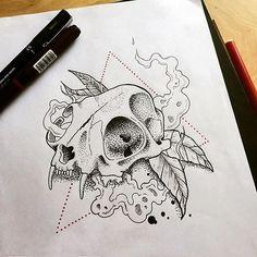 Cat skull  #dotwork #linework #line #skull #catskull #triangle #lineart #tatt…