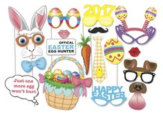 Here is the ultimate collection of Easter photo booth props! Great for an Easter table centre piece or photo booth! Tons of Fun!! Contains a 45 pieces:  ♥ Bunny ears and noses ♥ Easter glasses ♥ Easter Hats ♥ Easter speech bubbles ♥ big Easter egg ♥ carrot ♥ Chocolate bunny ♥ Bow tie ♥ Lips ♥ Moustaches ♥ chocolate spew ♥ Easter basket ♥ Huge Easter Eggs ♥ flower crown   This listing includes two PDF files with 45 photo props.  This listing is for the PRINTABLE FILE  The best part is that…