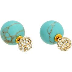 Featuring a reversible design, these chic earrings offer two classic looks. Show off its polished turquoise beads for a hint of boho-chic flair, or add a touch of sparkle with glittering rhinestone studs.