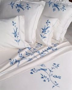 beautifully embroidered sheet and shams by Léron