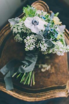 wedding bouquet with white lilac