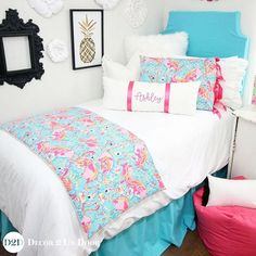 Do you flock with the right dorm decor crew? We adore the bright and beautiful Lilly flamingo print paired with bright white, pops of hot pink, and grosgrain accents. Lilly fabric is limited and once it is sold out... you'll be singing the blues! Shop via link in profile! . . #dorm #dormlife #dormroom #dormdecor #dormbedding #dormsweetdorm #dormmates #dormmakeover #lilly #preppy #lillyprint #flamingo #flamingoprint