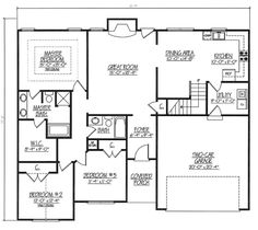 First Floor Plan of Ranch   House Plan 54440