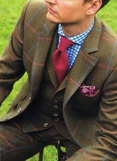 Windowpane suit- Paisley pocket ■- Gingham Dress shirt- knit necktie.