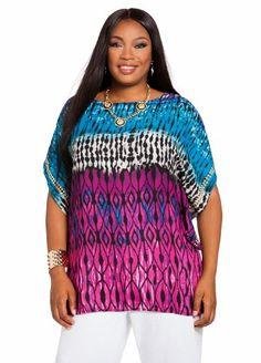 20% Off was $39.50, now is $31.60! Ashley Stewart Women`s Plus Size Batik Gold Stud Kimono Fjord Blue 26 + Free Shipping