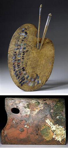 Top - Delacroix's palette  Bottom - Degas' palette...so representational!  I love this!